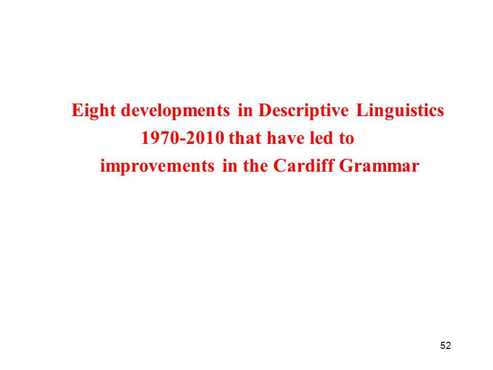Eight developments in Descriptive Linguistics