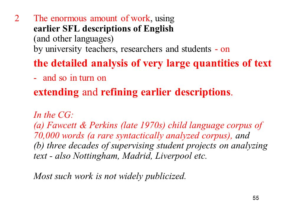 The enormous amount of work, using earlier SFL descriptions of English