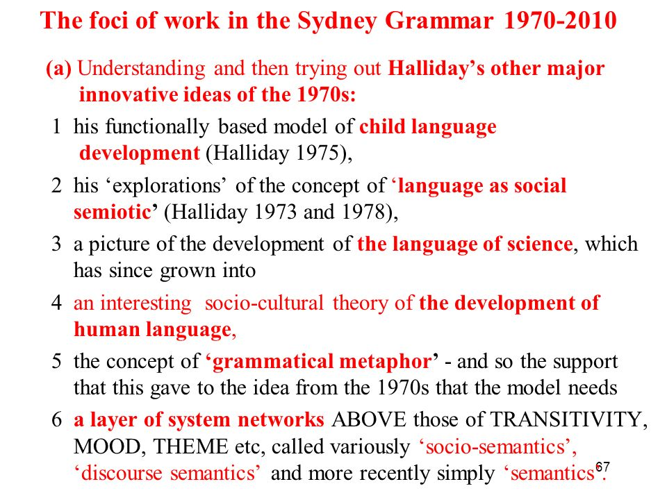 The foci of work in the Sydney Grammar 1970-2010
