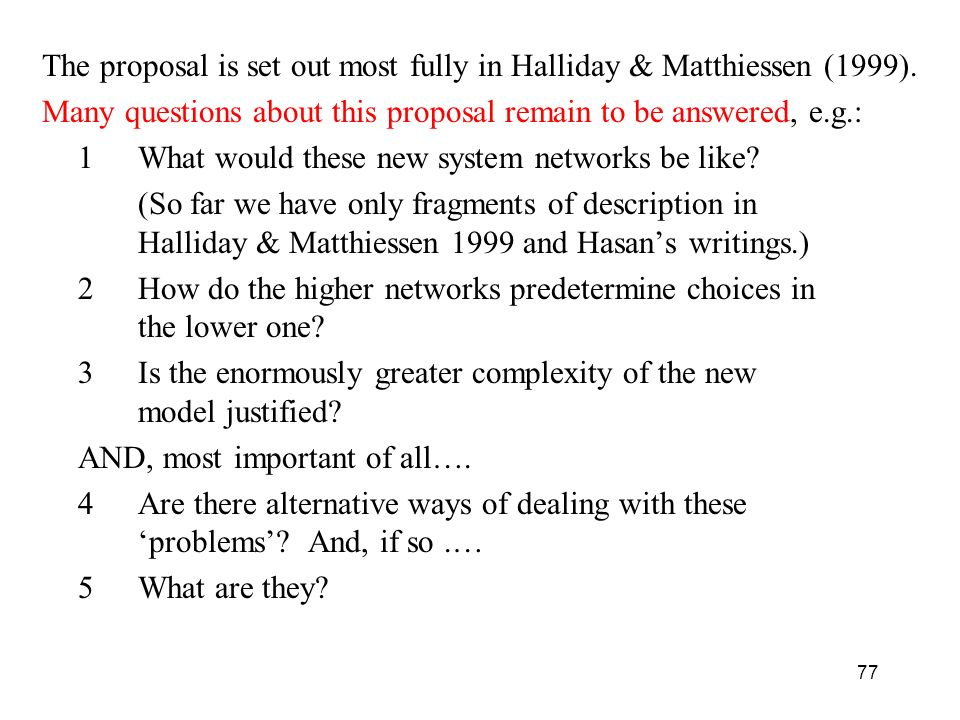 The proposal is set out most fully in Halliday & Matthiessen (1999).