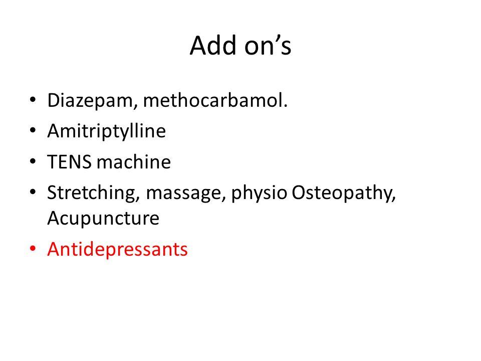 Add on's Diazepam, methocarbamol. Amitriptylline TENS machine