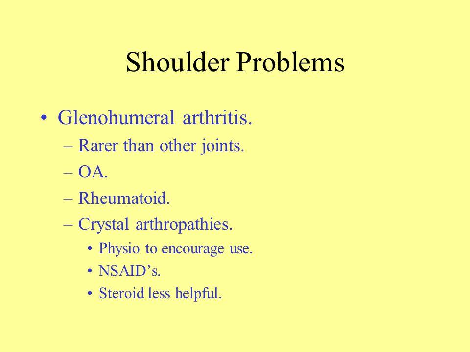 Shoulder Problems Glenohumeral arthritis. Rarer than other joints. OA.