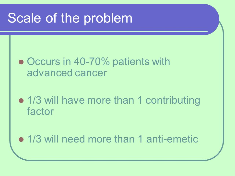 Scale of the problem Occurs in 40-70% patients with advanced cancer