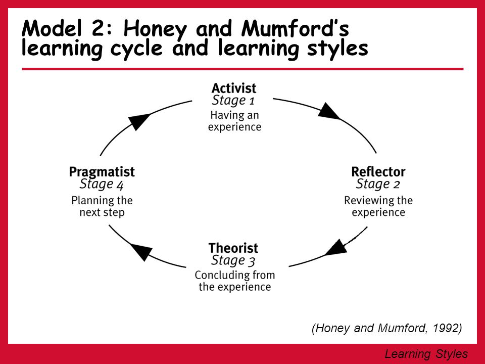 Model 2: Honey and Mumford's learning cycle and learning styles