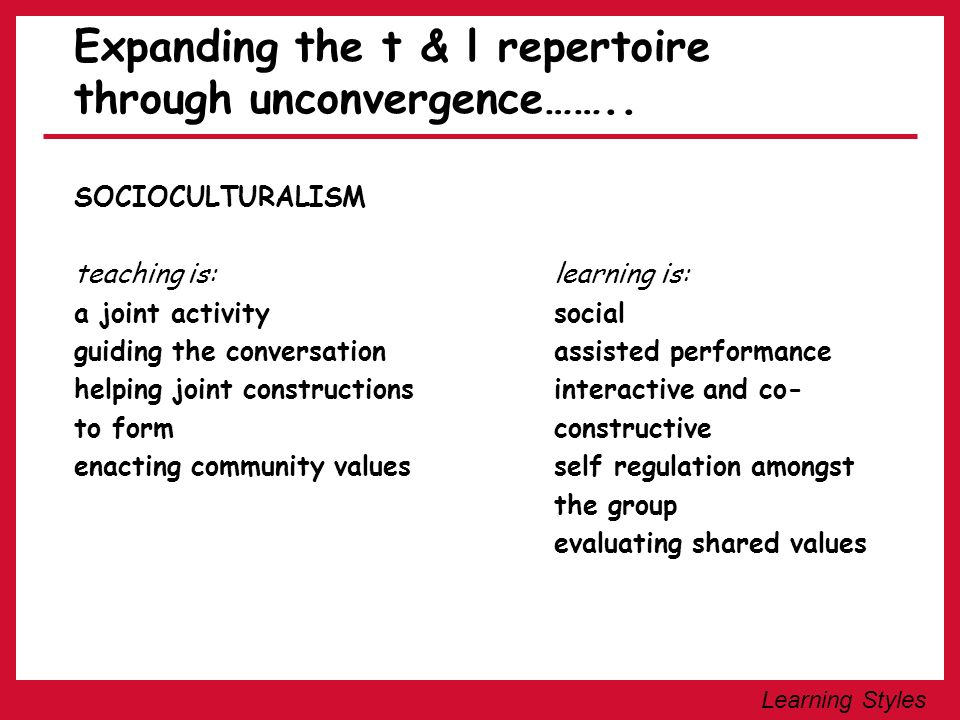 Expanding the t & l repertoire through unconvergence……..