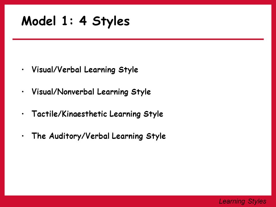 Model 1: 4 Styles Visual/Verbal Learning Style