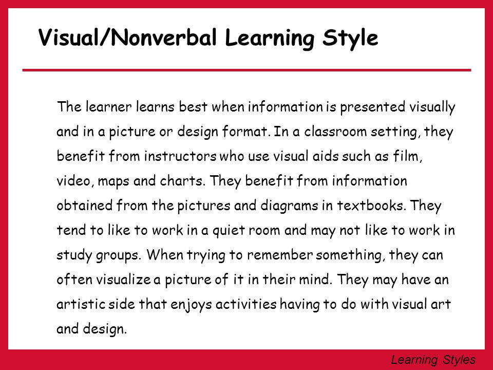 Visual/Nonverbal Learning Style
