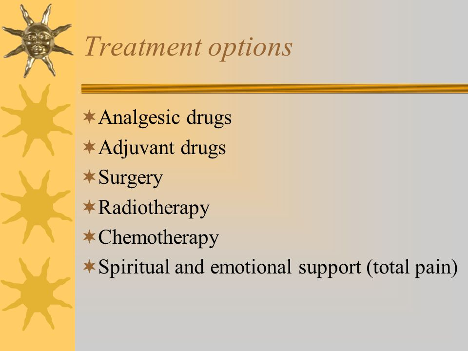 Treatment options Analgesic drugs Adjuvant drugs Surgery Radiotherapy