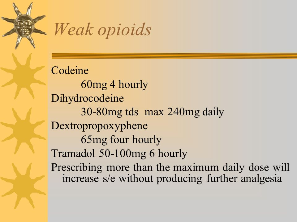 Weak opioids Codeine 60mg 4 hourly Dihydrocodeine