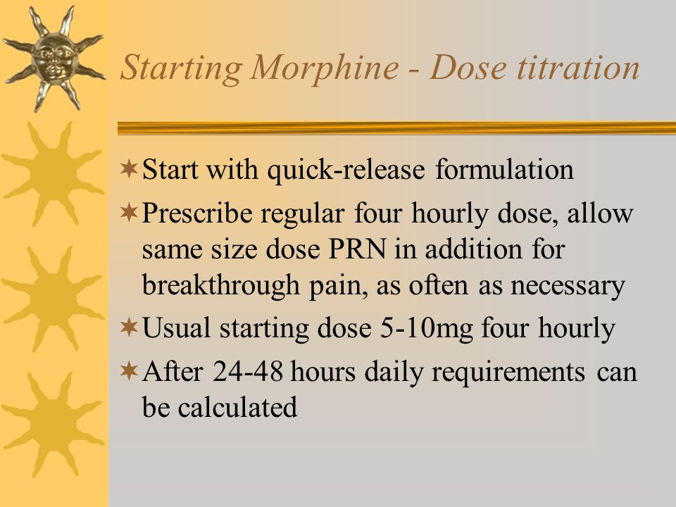 Starting Morphine - Dose titration