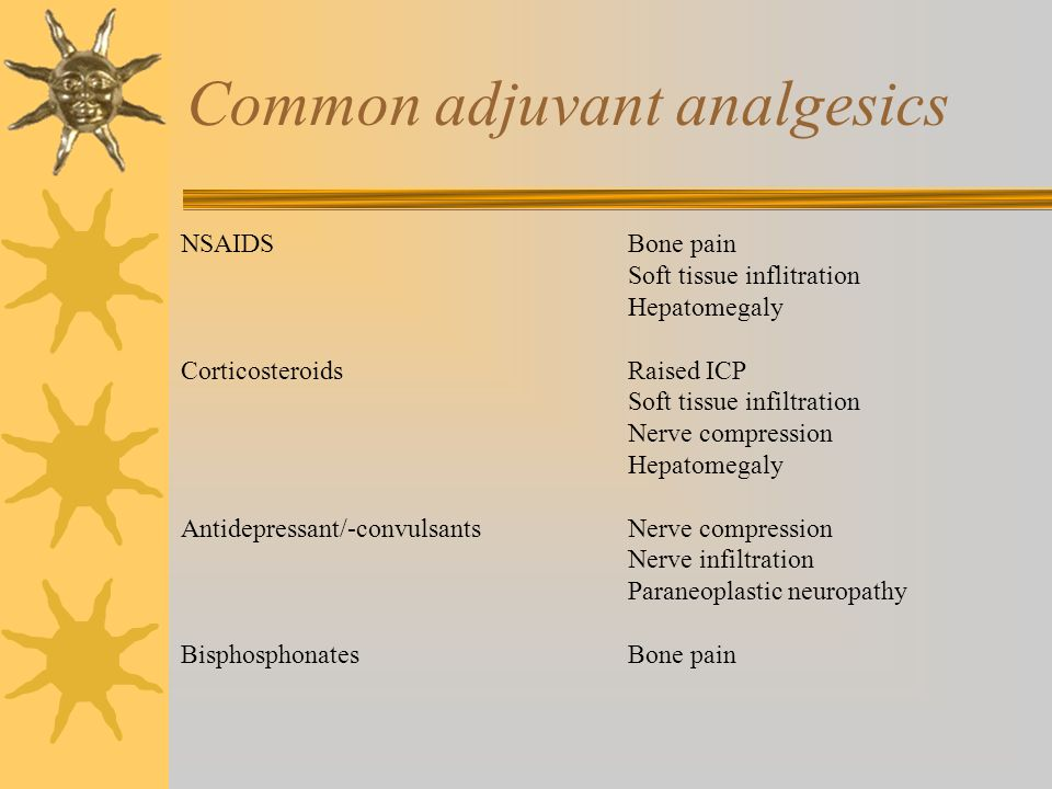 Common adjuvant analgesics