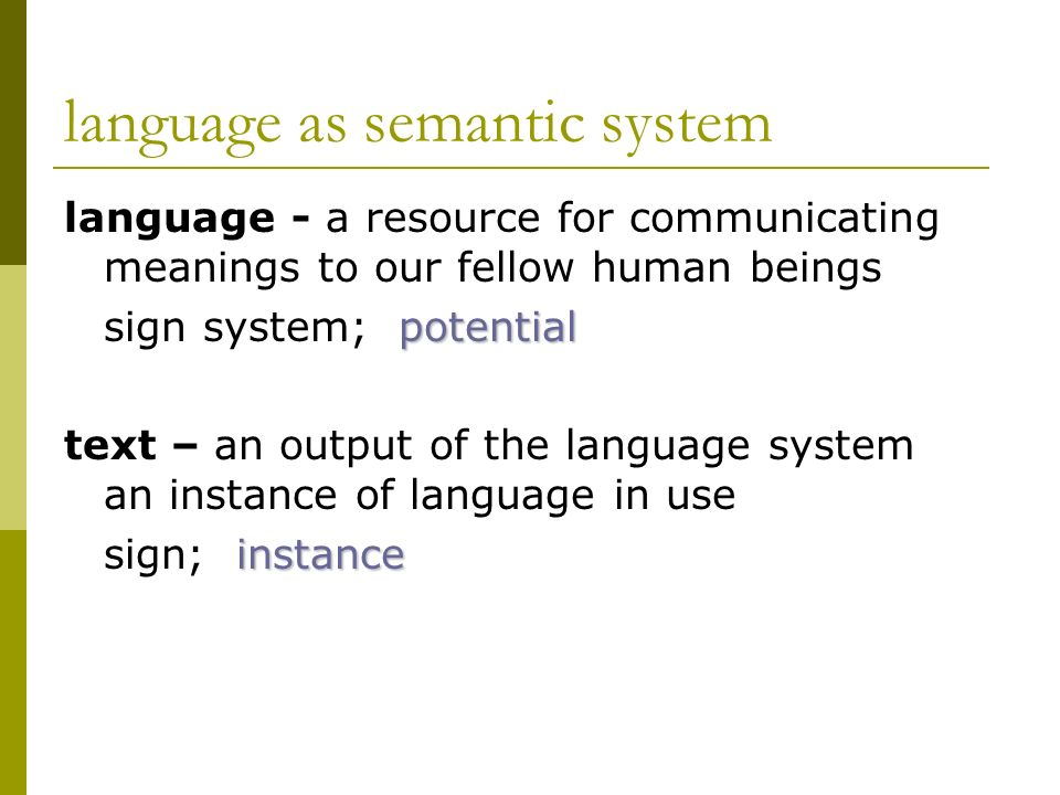 language as semantic system