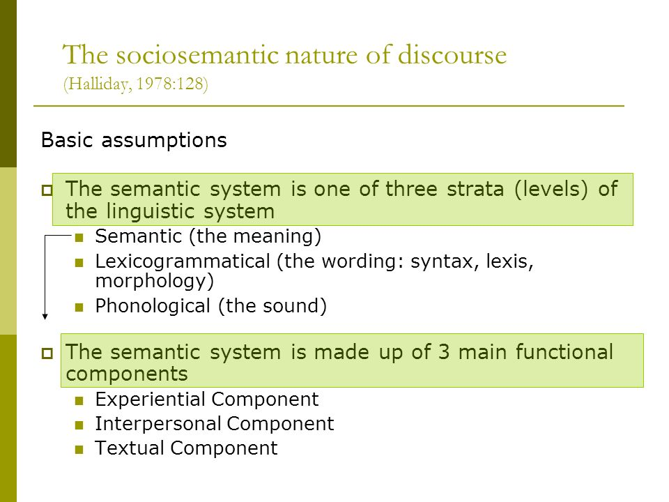 The sociosemantic nature of discourse (Halliday, 1978:128)