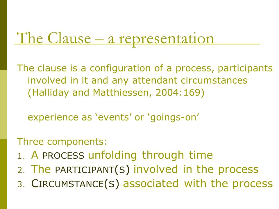 The Clause – a representation