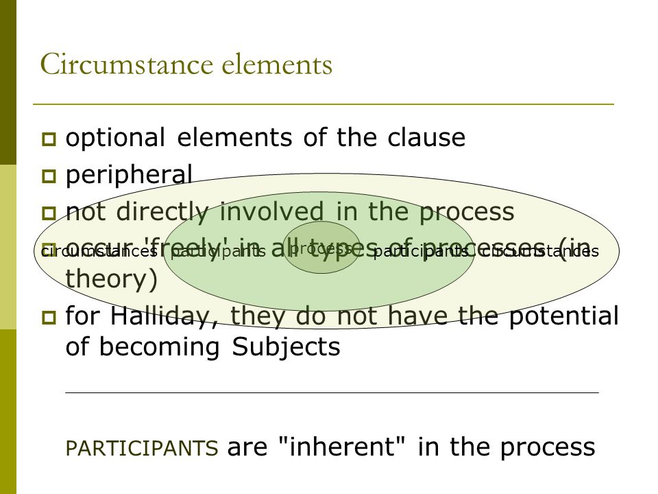 Circumstance elements