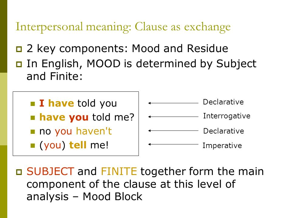 Interpersonal meaning: Clause as exchange