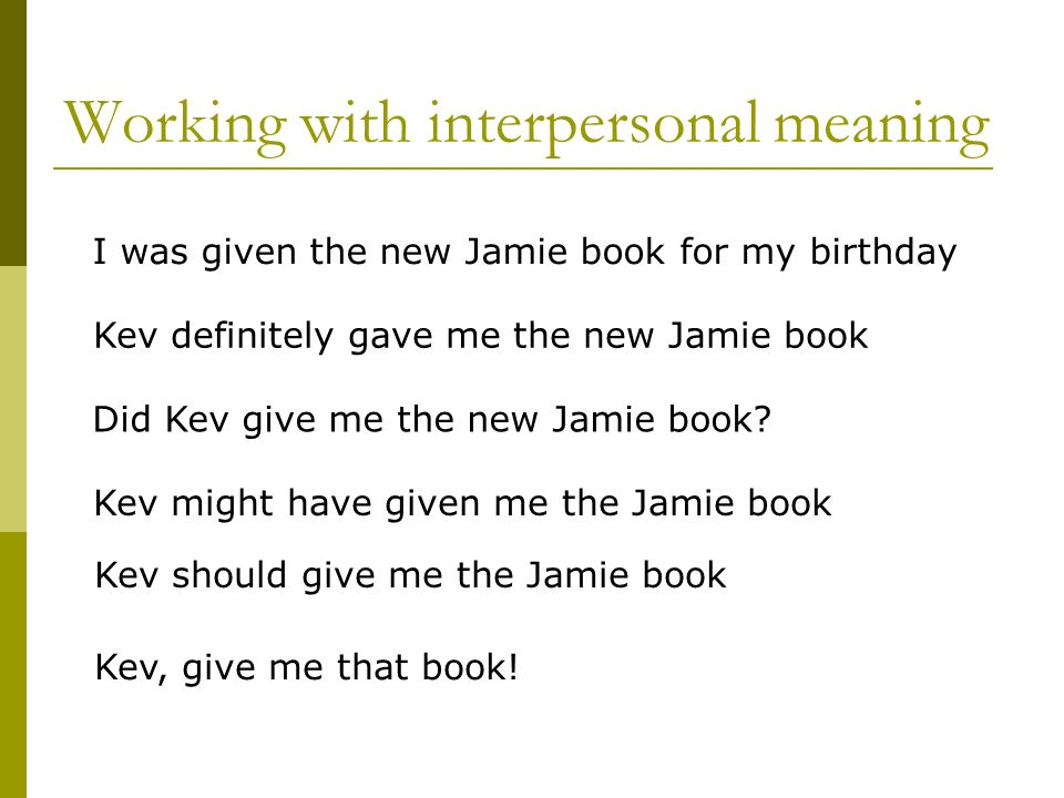 Working with interpersonal meaning