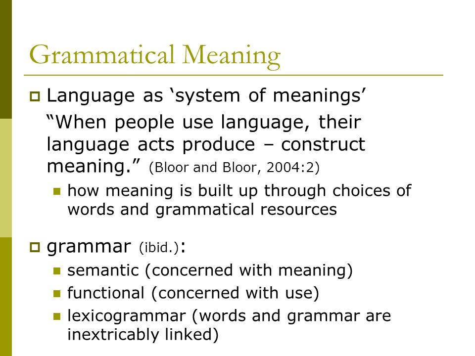 Grammatical Meaning Language as 'system of meanings'
