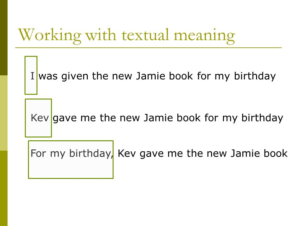 Working with textual meaning