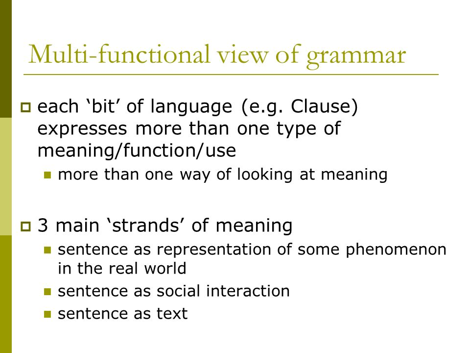 Multi-functional view of grammar