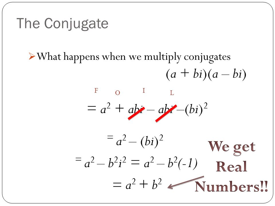 We get Real Numbers!! The Conjugate = a2 + abi – abi –(bi)2