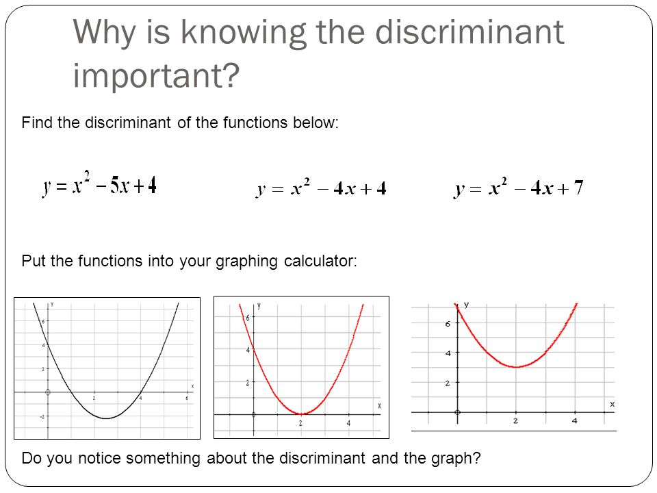 Why is knowing the discriminant important