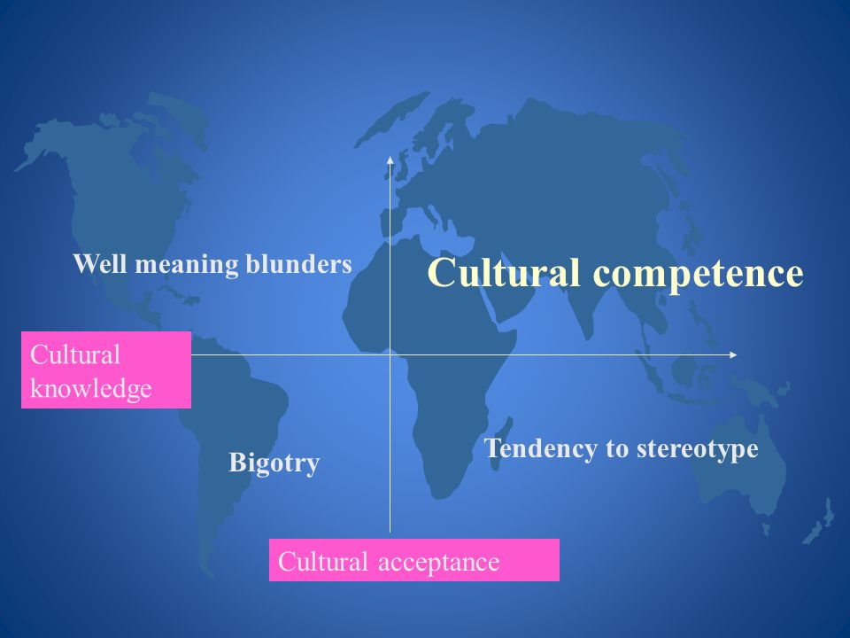 Cultural competence Well meaning blunders Cultural knowledge