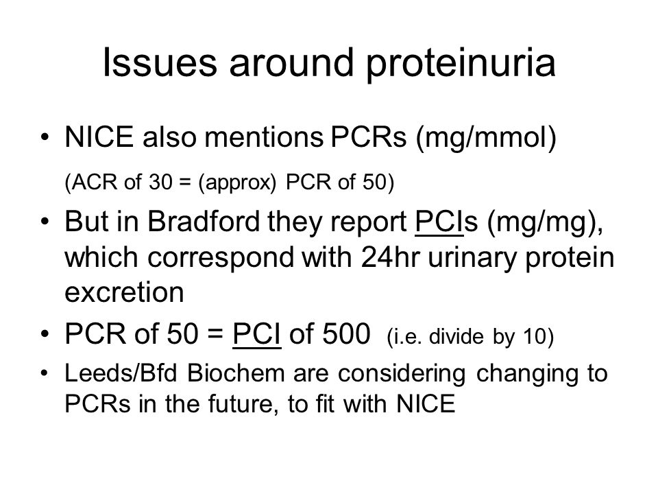 Issues around proteinuria