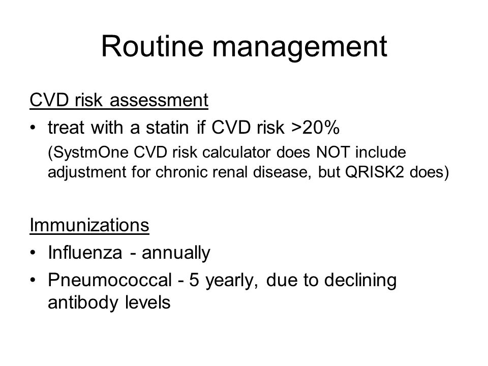 Routine management CVD risk assessment