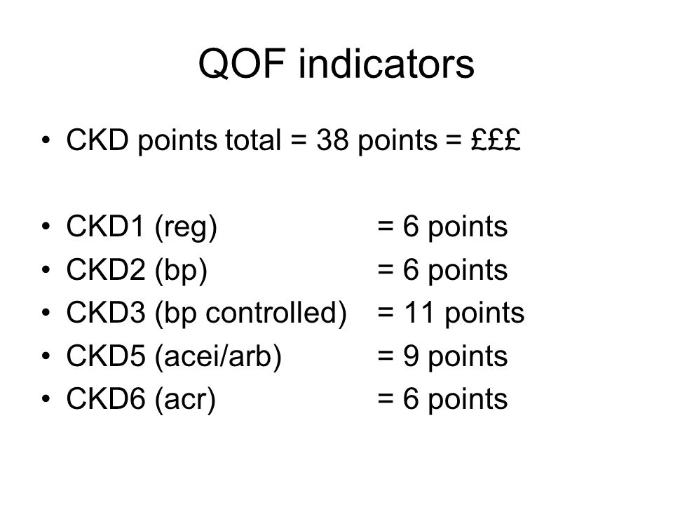 QOF indicators CKD points total = 38 points = £££