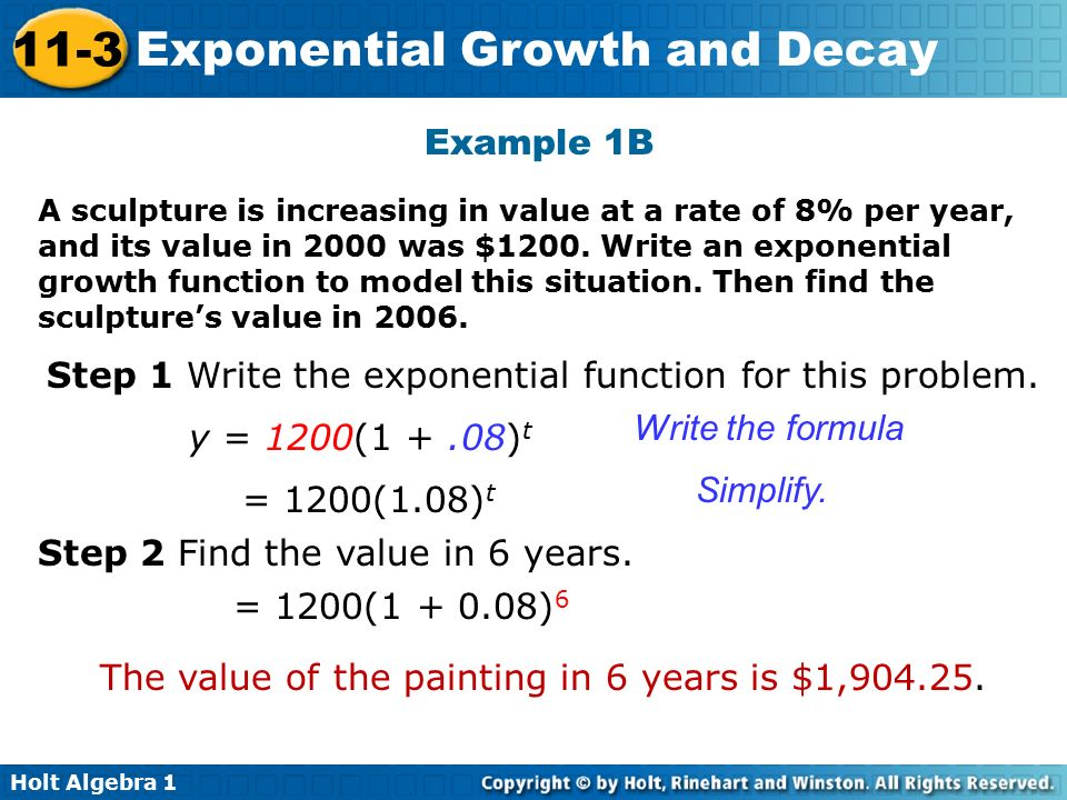 write an exponential function to model the situation tax
