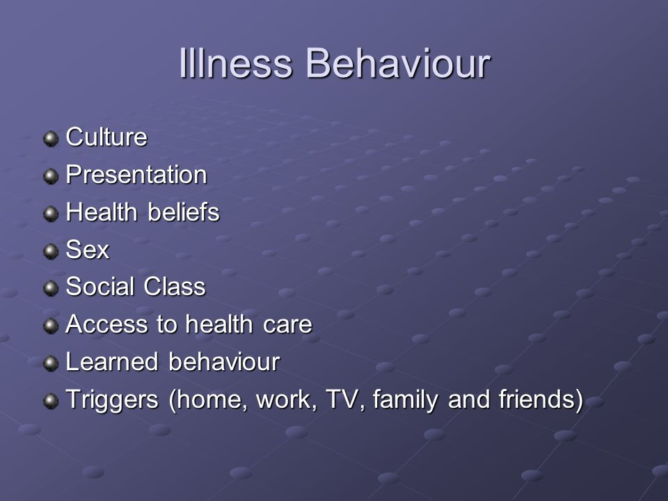 Illness Behaviour Culture Presentation Health beliefs Sex Social Class