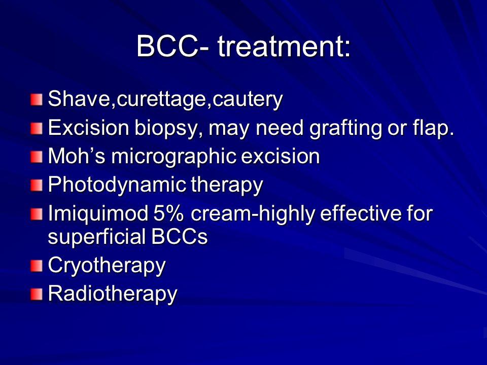 BCC- treatment: Shave,curettage,cautery