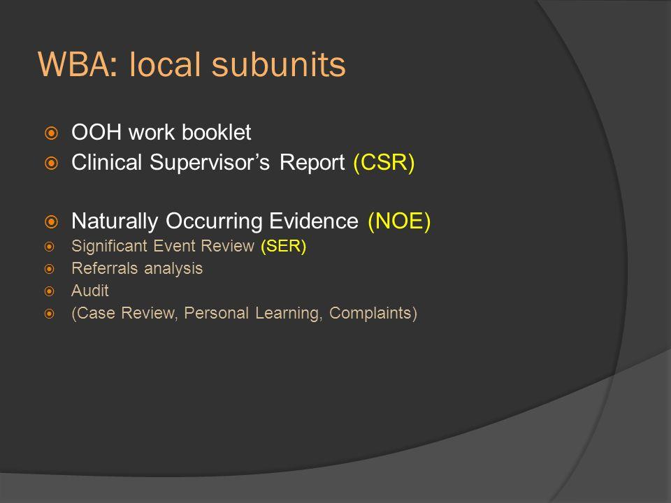 WBA: local subunits OOH work booklet