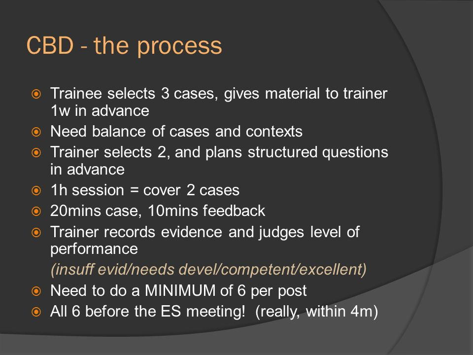 CBD - the process Trainee selects 3 cases, gives material to trainer 1w in advance. Need balance of cases and contexts.