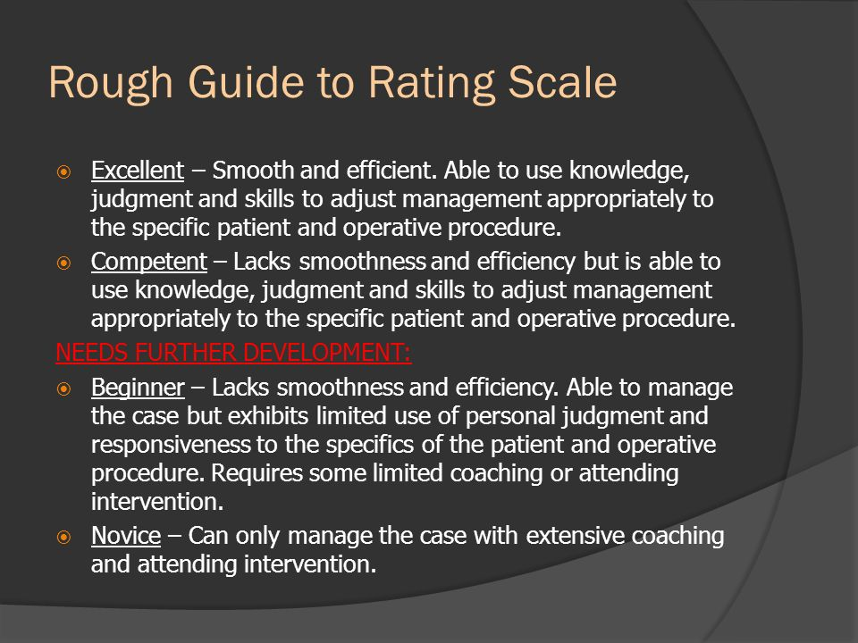 Rough Guide to Rating Scale
