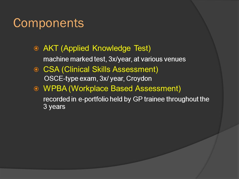 Components AKT (Applied Knowledge Test)