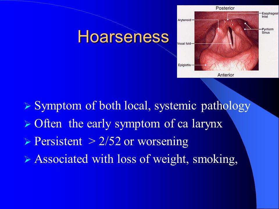 Hoarseness Symptom of both local, systemic pathology