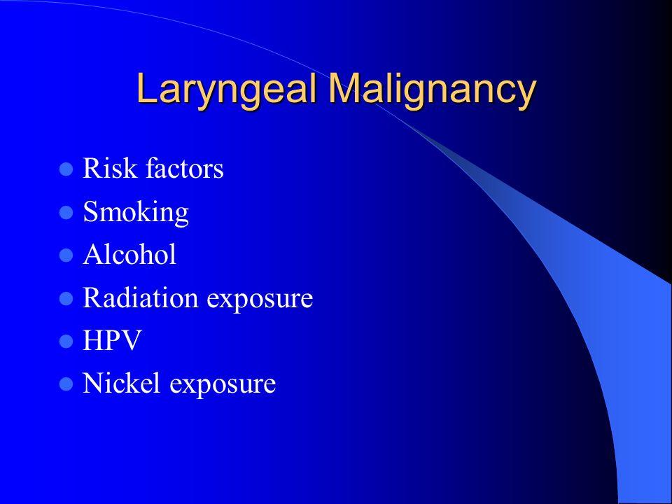 Laryngeal Malignancy Risk factors Smoking Alcohol Radiation exposure