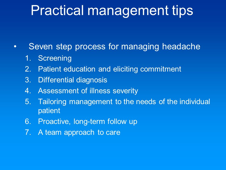 Practical management tips