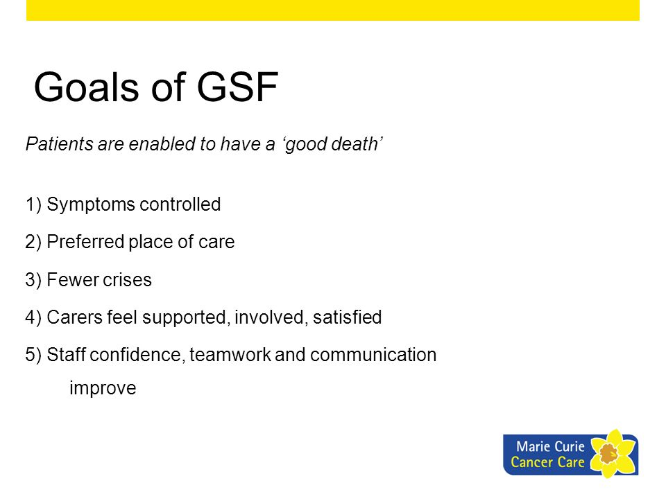 Goals of GSF Patients are enabled to have a 'good death'