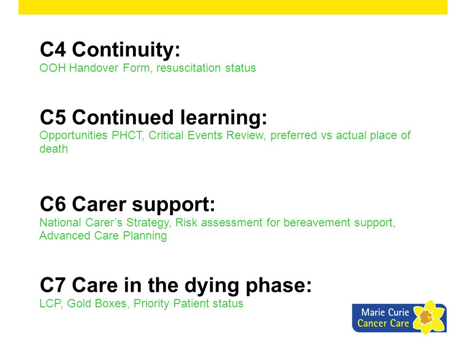 C7 Care in the dying phase: