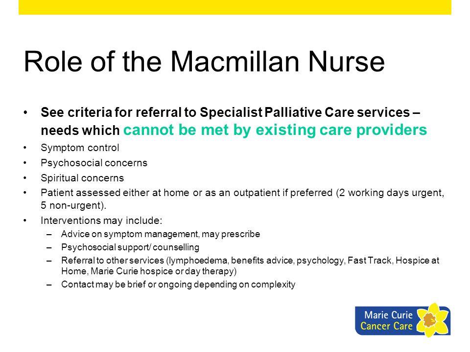 Role of the Macmillan Nurse