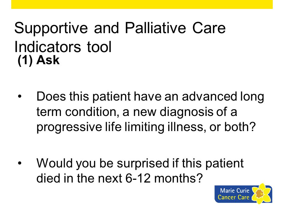 Supportive and Palliative Care Indicators tool