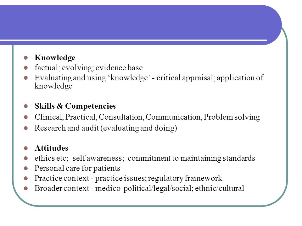 Knowledge factual; evolving; evidence base. Evaluating and using 'knowledge' - critical appraisal; application of knowledge.