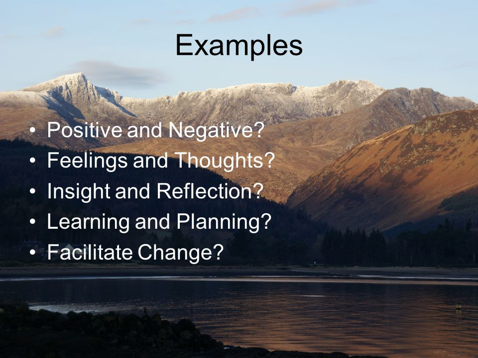 Examples Positive and Negative Feelings and Thoughts