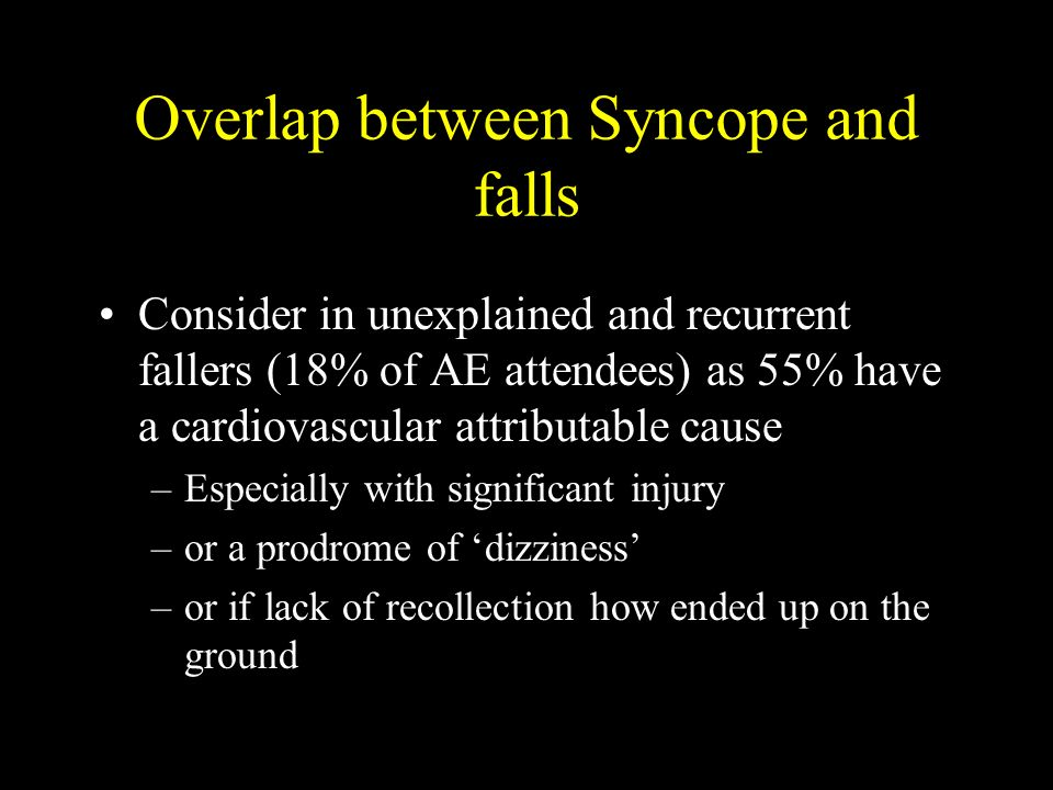 Overlap between Syncope and falls