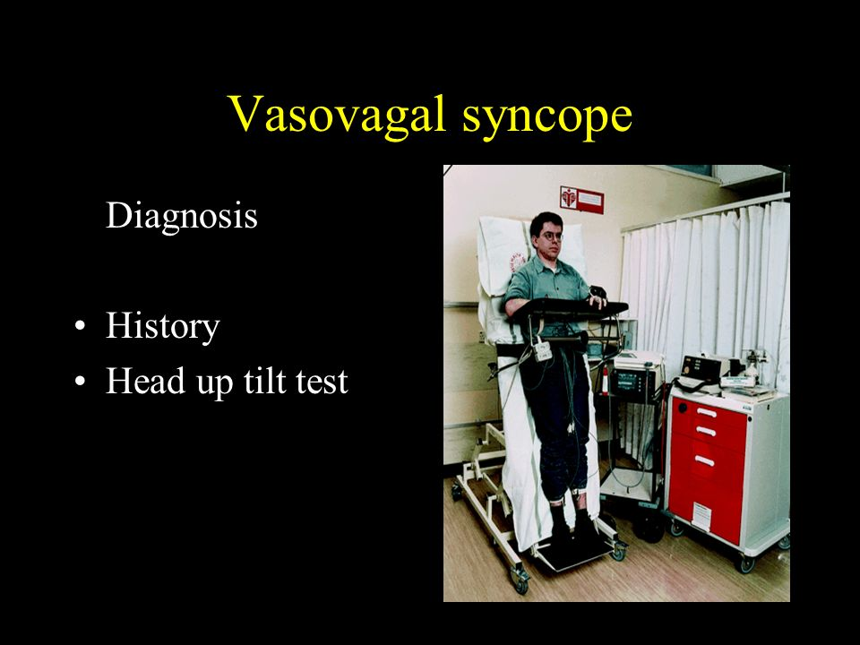 Vasovagal syncope Diagnosis History Head up tilt test