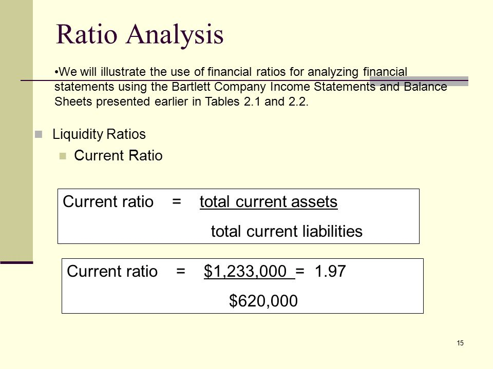 An analysis of current ratio using current asset and data is the current ratio