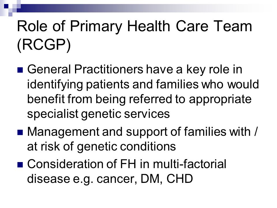 Role of Primary Health Care Team (RCGP)